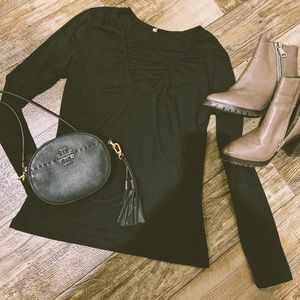 Black V Neck Long Sleeve Top